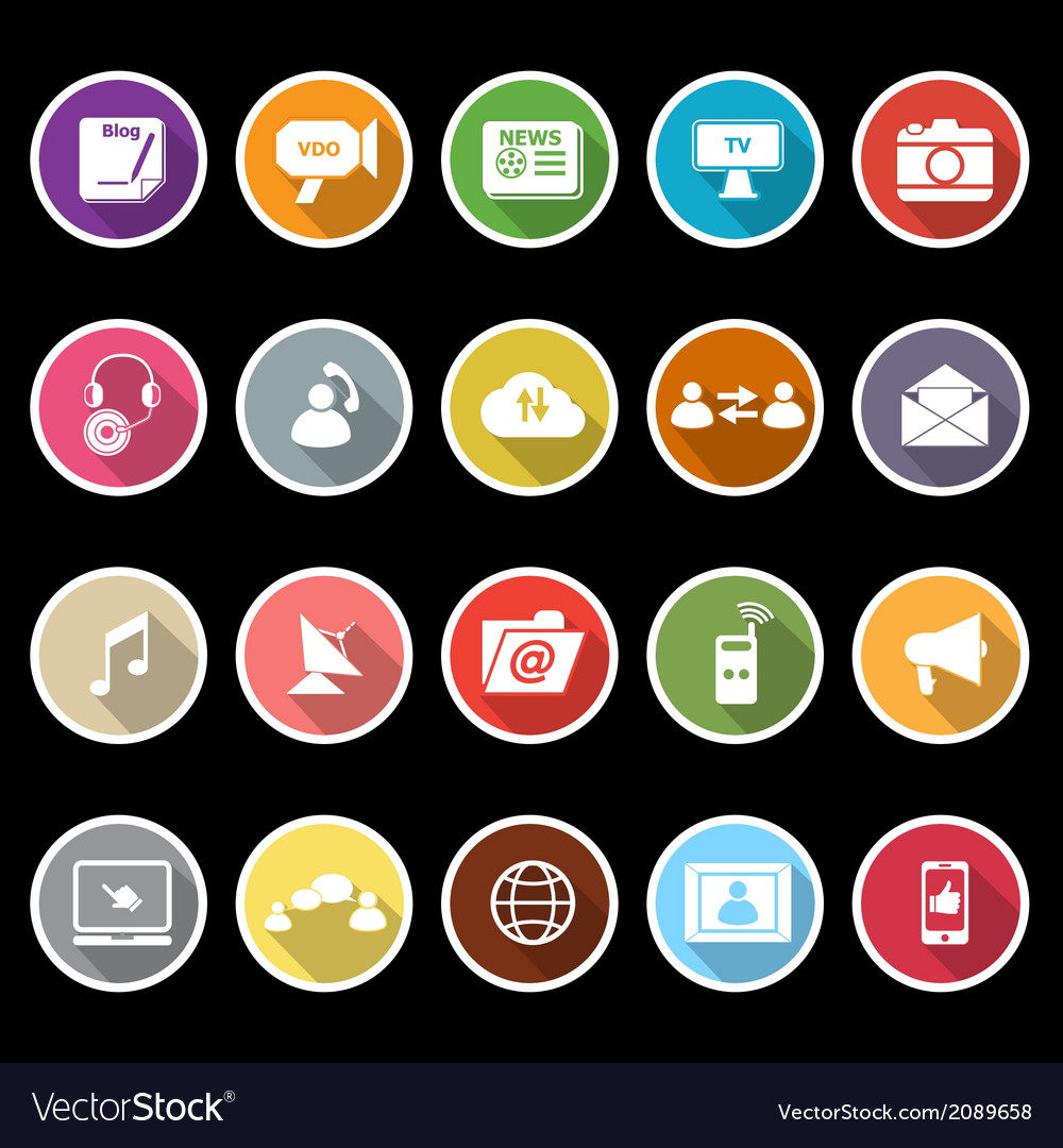 Media icons with long shadow vector | Price: 1 Credit (USD $1)