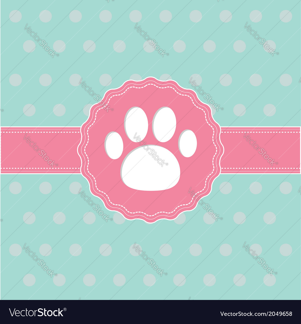 Pink ribbon and label with paw print card vector | Price: 1 Credit (USD $1)