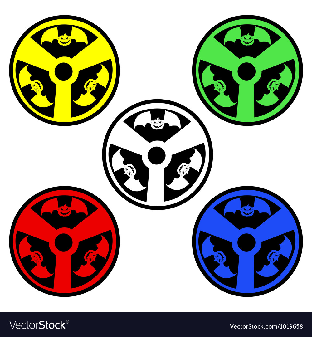 Radioactive sign with bats vector | Price: 1 Credit (USD $1)