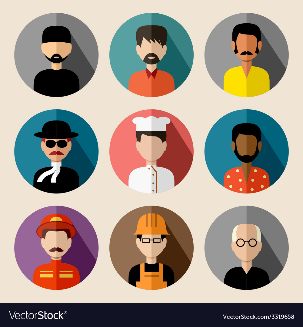 Set of round flat icons with men vector | Price: 1 Credit (USD $1)
