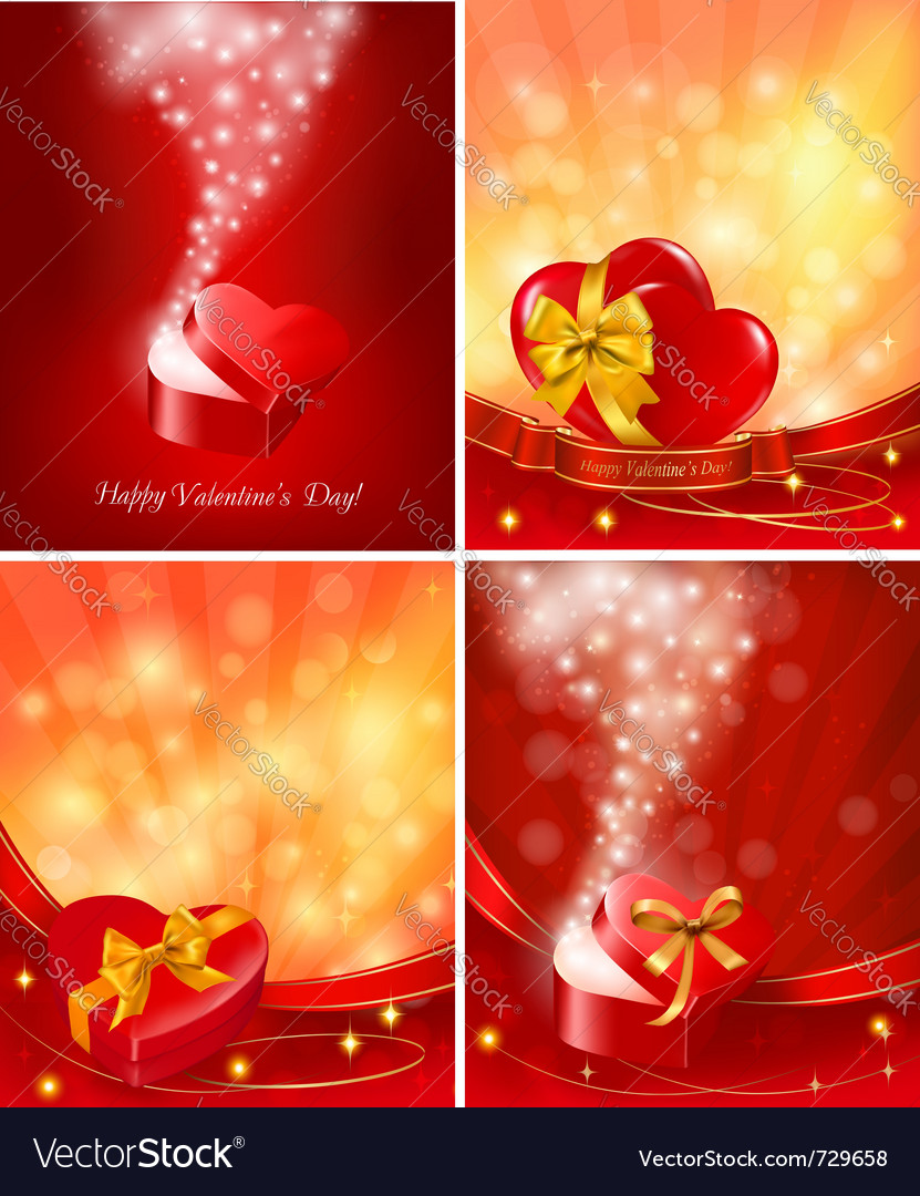 Set of valentine day backgrounds vector | Price: 3 Credit (USD $3)