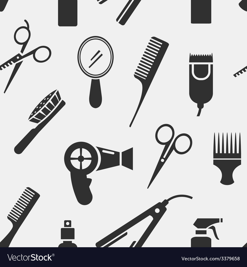 Silhouette hairdressing tools in seamless pattern vector | Price: 1 Credit (USD $1)