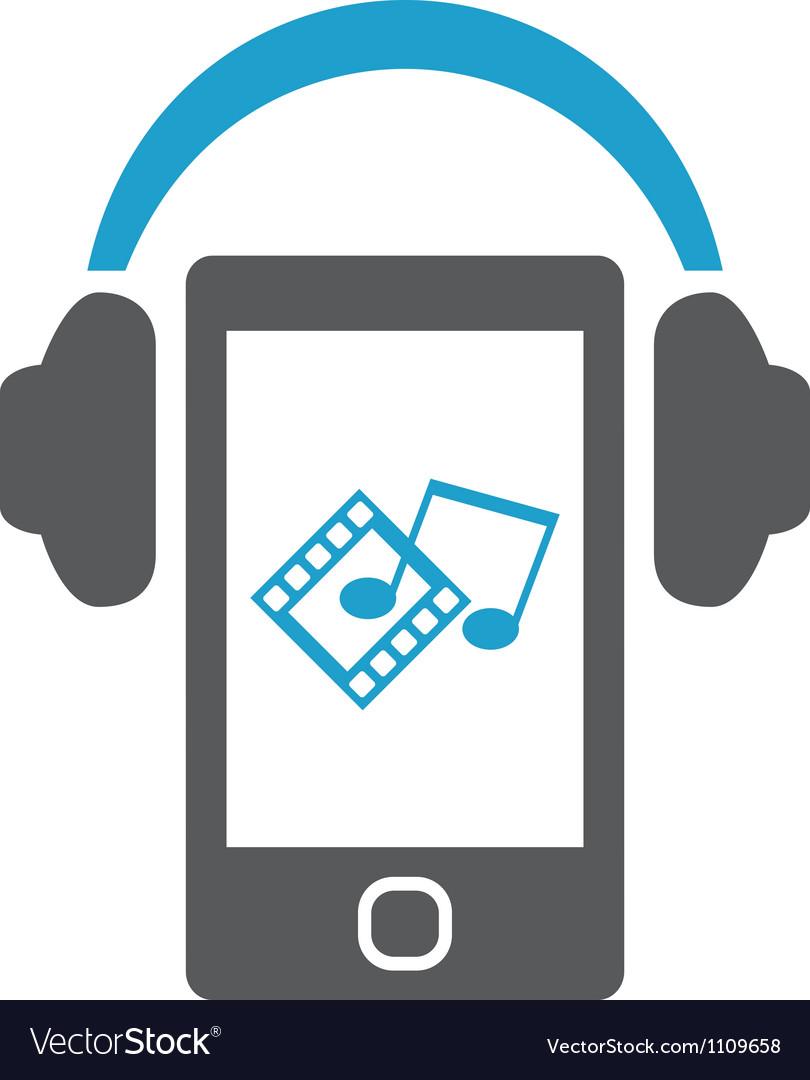 Smartphone with headphones vector | Price: 1 Credit (USD $1)