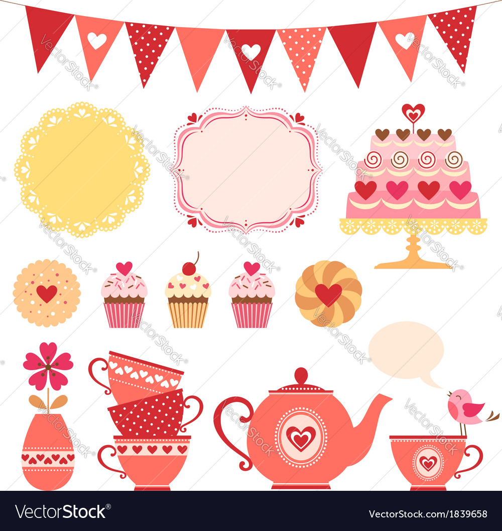 Valentine tea party vector