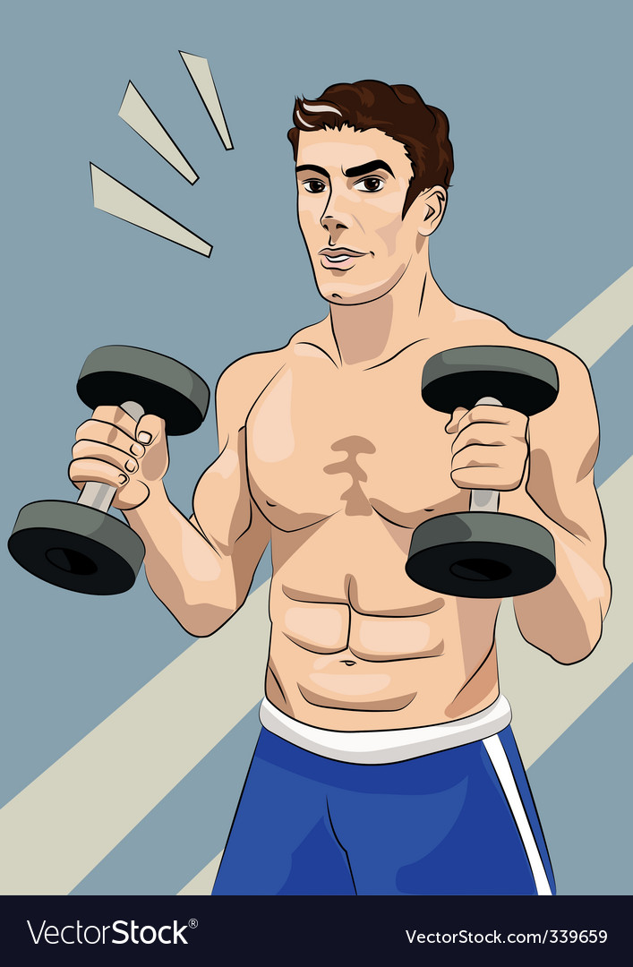 Athletic man with dumbbells vector | Price: 1 Credit (USD $1)