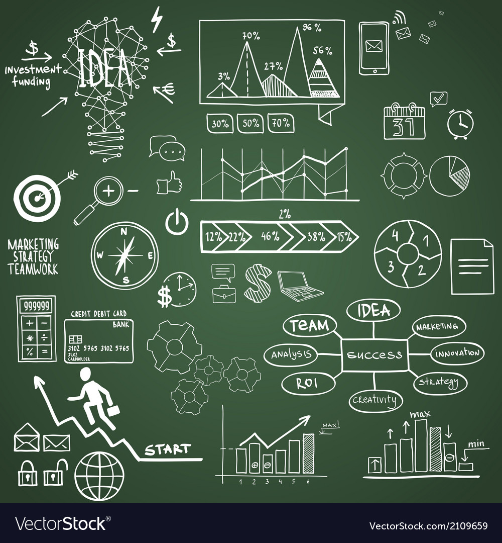 Business finance elements and icons doodle hand vector   Price: 1 Credit (USD $1)