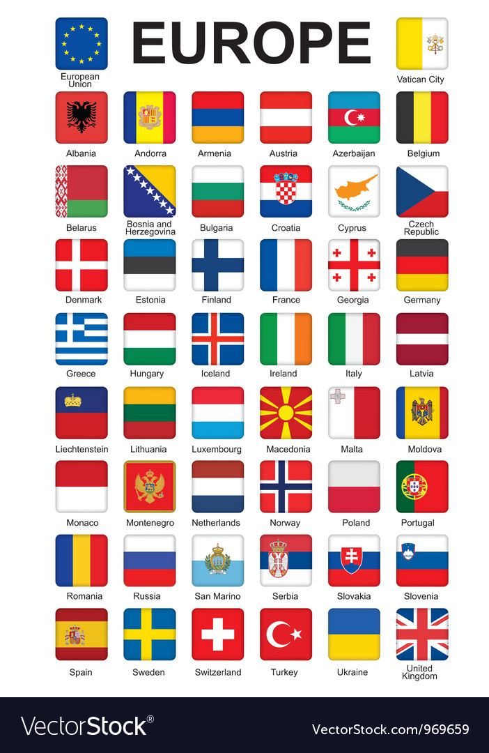 Buttons with flags of europe vector | Price: 1 Credit (USD $1)