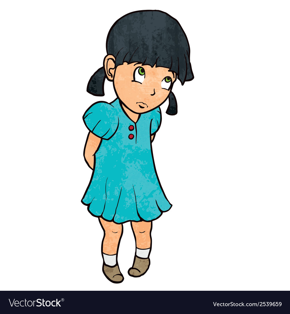 Cute sad guilty little girl in blue dress cartoon vector | Price: 1 Credit (USD $1)