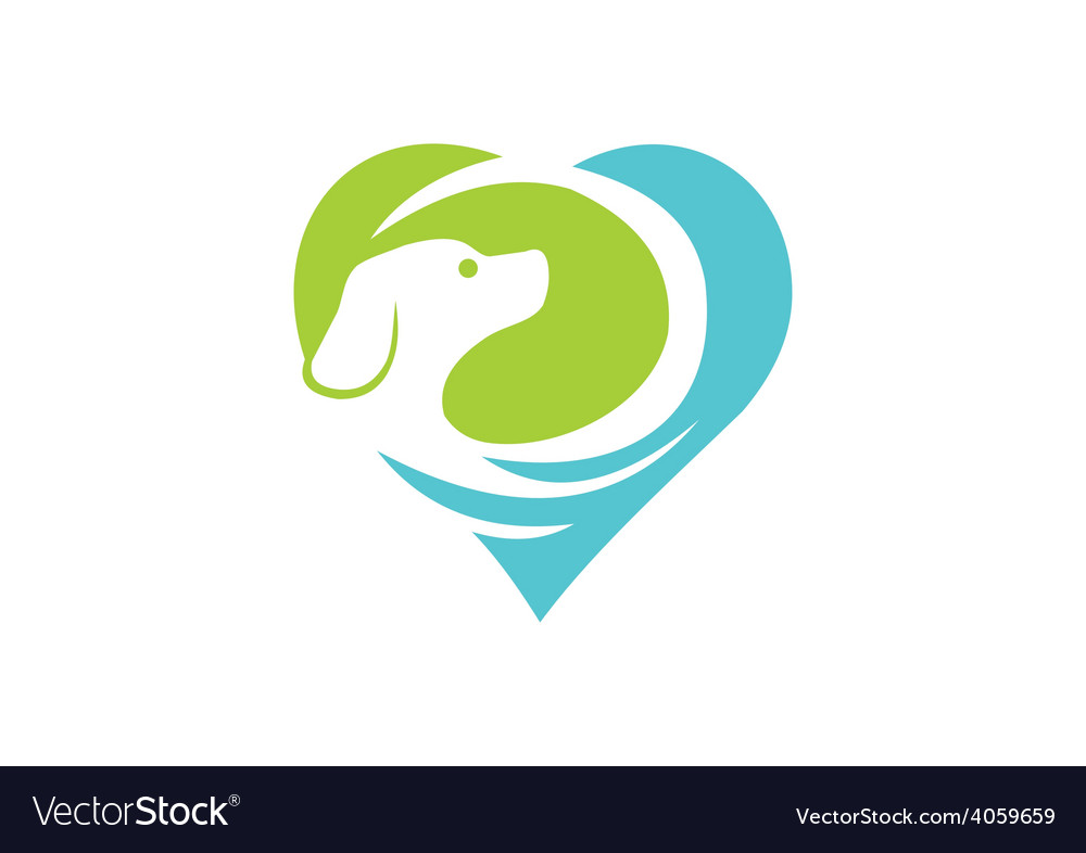 Dog pet love abstract logo vector