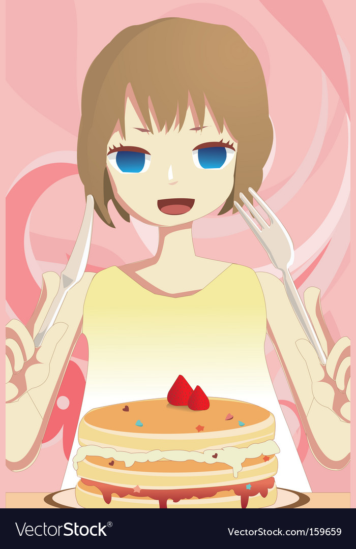 Eat cake vector | Price: 1 Credit (USD $1)