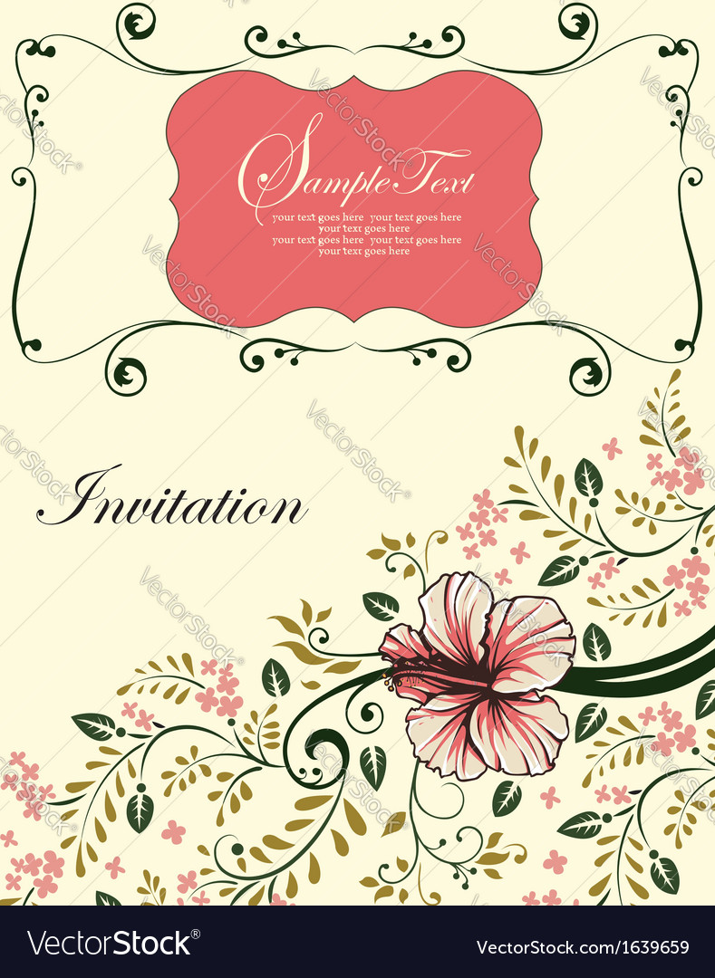 Floral invitation card with tree branch vector | Price: 1 Credit (USD $1)