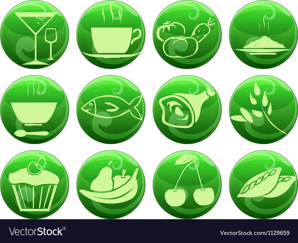 Food icons on buttons vector   Price: 1 Credit (USD $1)