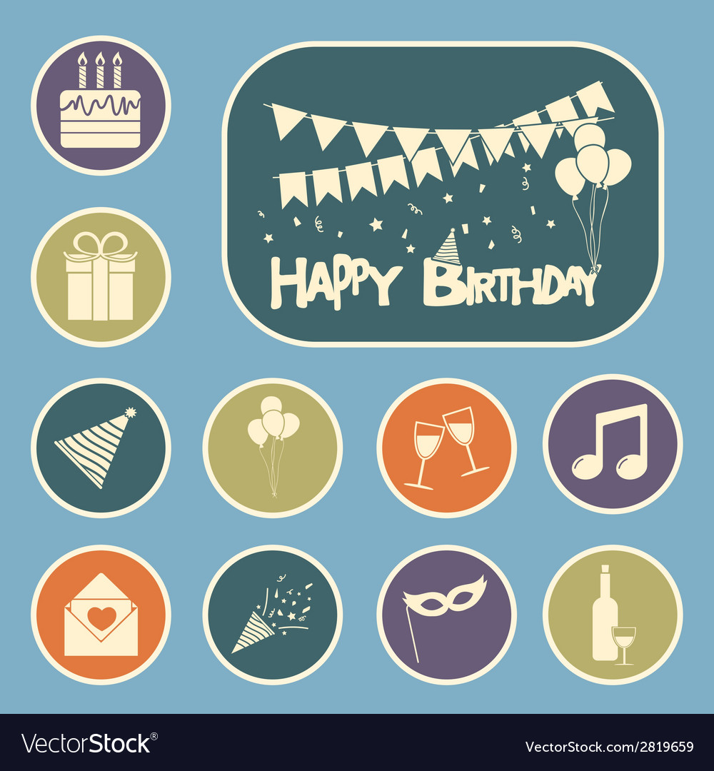 Happy birthday set vector | Price: 1 Credit (USD $1)