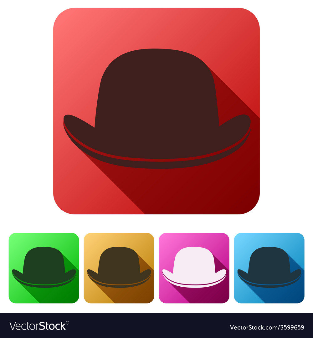 Set flat icons of black gentleman bowler hat vector | Price: 1 Credit (USD $1)