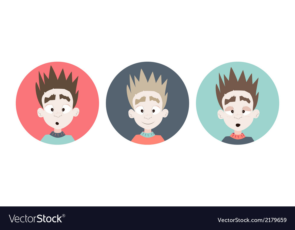 Three emotional boy faces icons vector | Price: 1 Credit (USD $1)