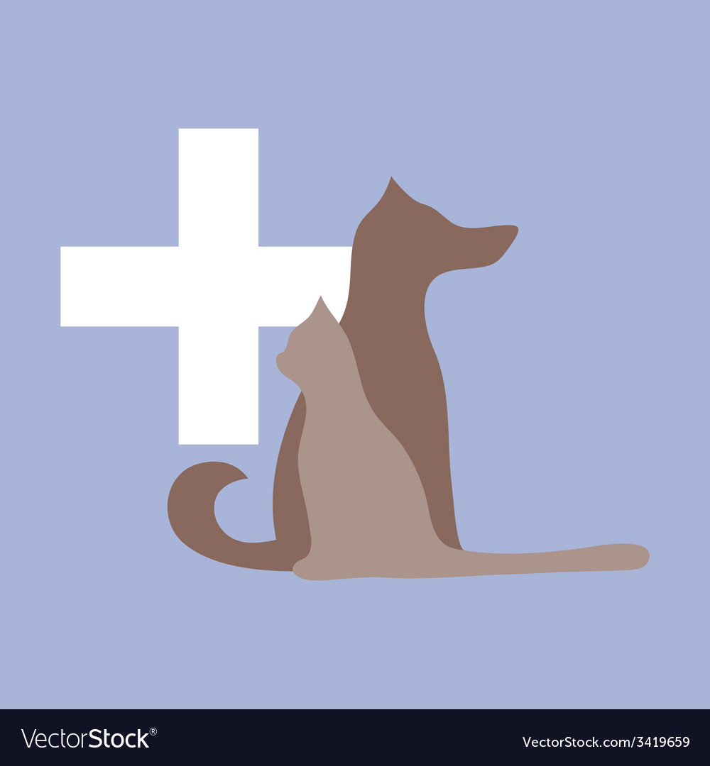 Veterinary cross cat and dog logo vector | Price: 1 Credit (USD $1)