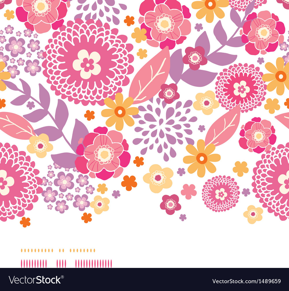 Warm summer plants frame horizontal decor seamless vector | Price: 1 Credit (USD $1)
