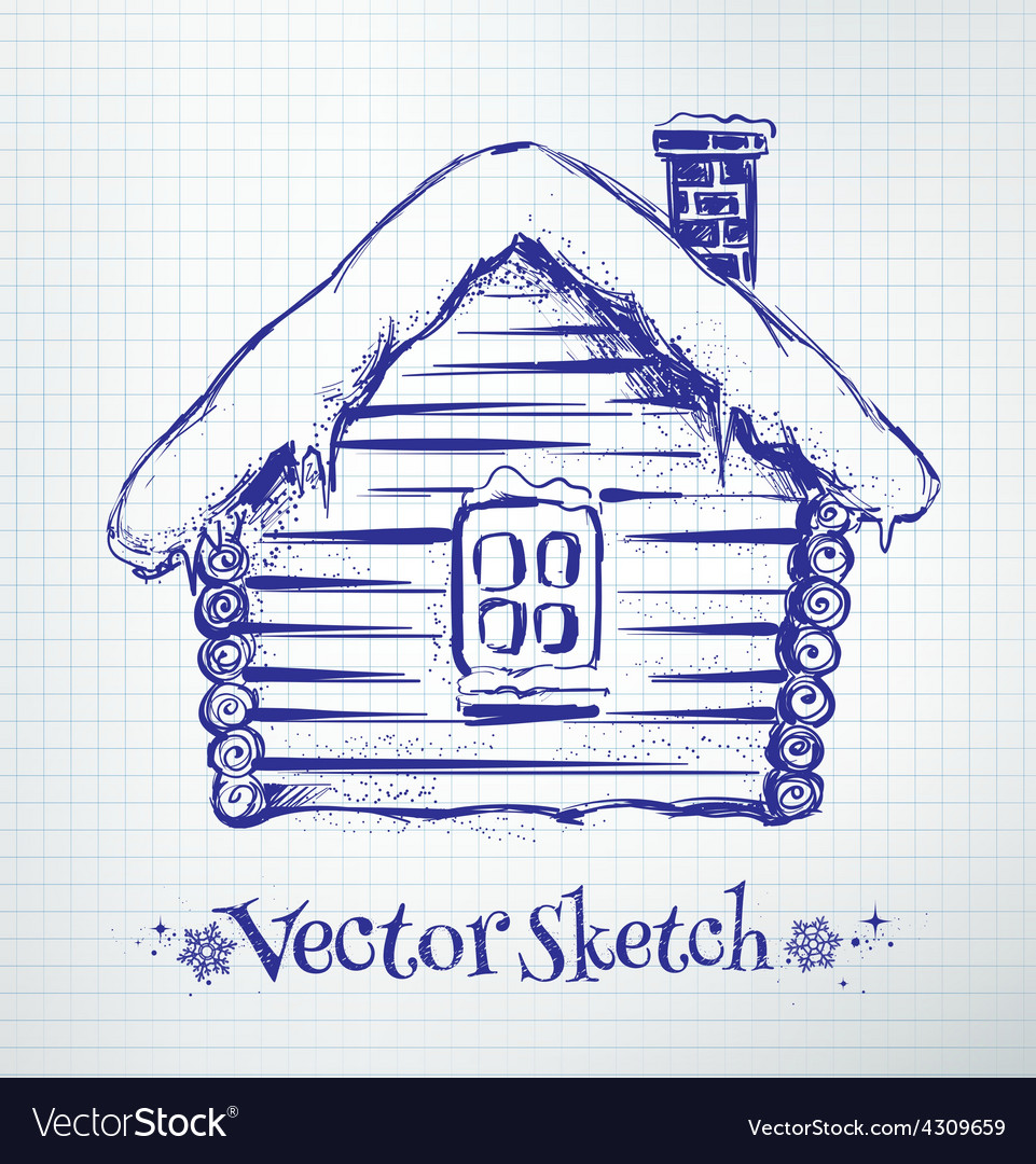 Winter house vector | Price: 1 Credit (USD $1)
