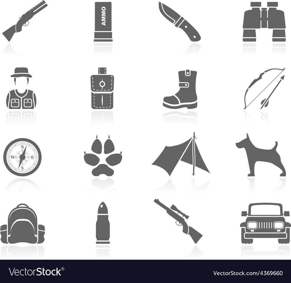 Black icons - hunting vector | Price: 1 Credit (USD $1)