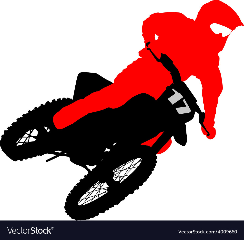 Black silhouettes motocross rider on a motorcycle vector   Price: 1 Credit (USD $1)
