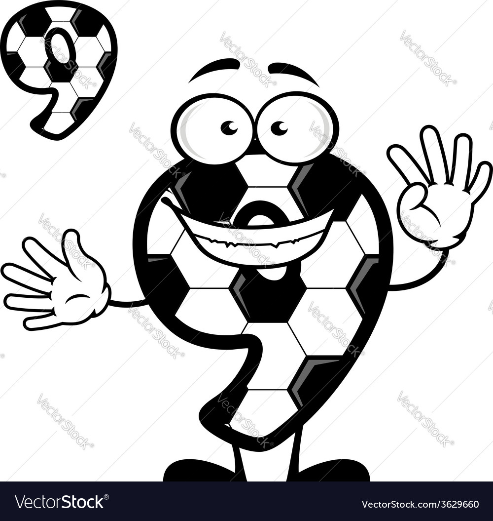 Cartoon number 9 with soccer pattern vector | Price: 1 Credit (USD $1)