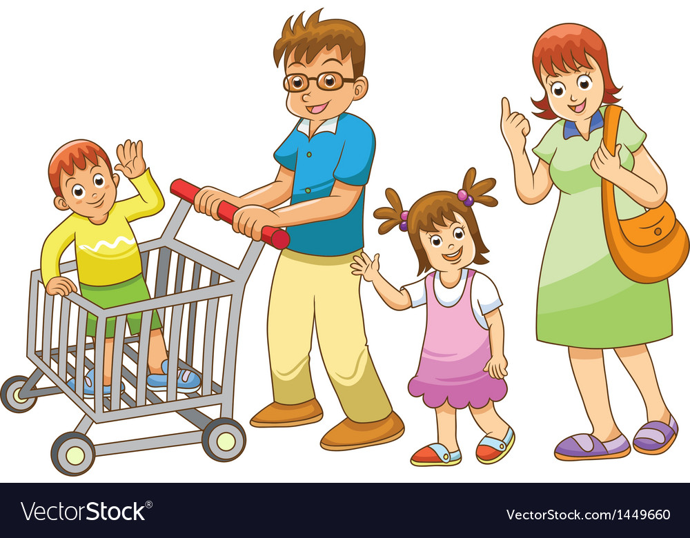 Family shopping vector | Price: 3 Credit (USD $3)