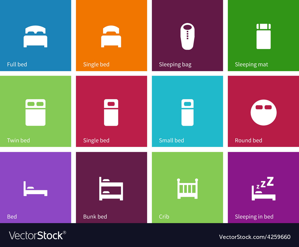 Full and single bed icons on color background vector | Price: 1 Credit (USD $1)