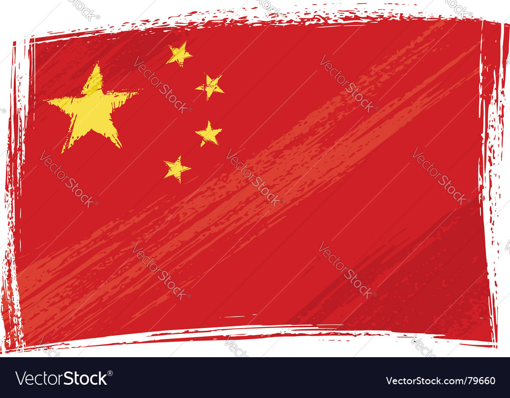 Grunge china flag vector | Price: 1 Credit (USD $1)