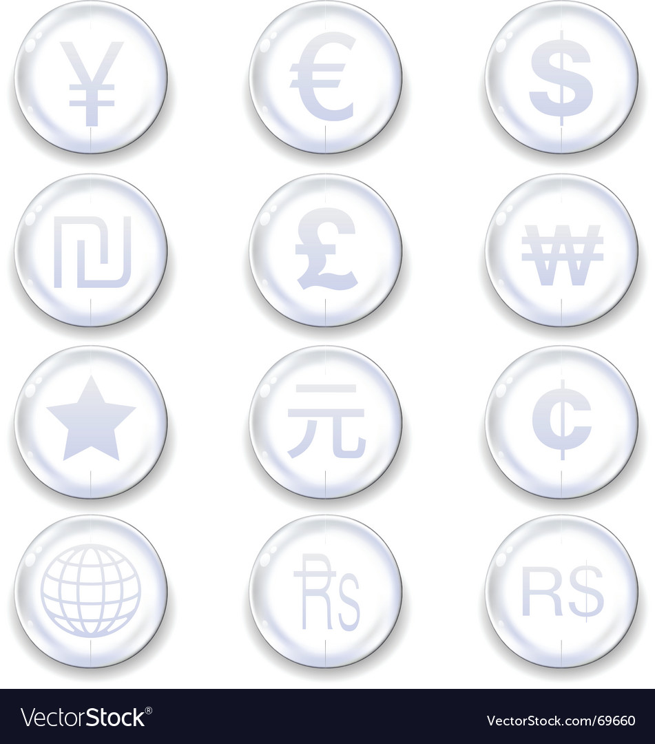 International currency icons vector | Price: 1 Credit (USD $1)
