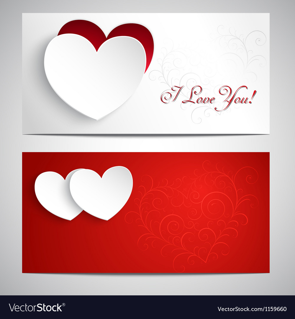 Postcards with hearts vector | Price: 1 Credit (USD $1)