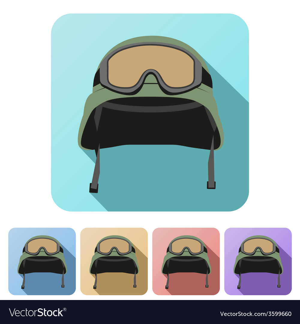 Set flat icons of green military helmet with vector   Price: 1 Credit (USD $1)