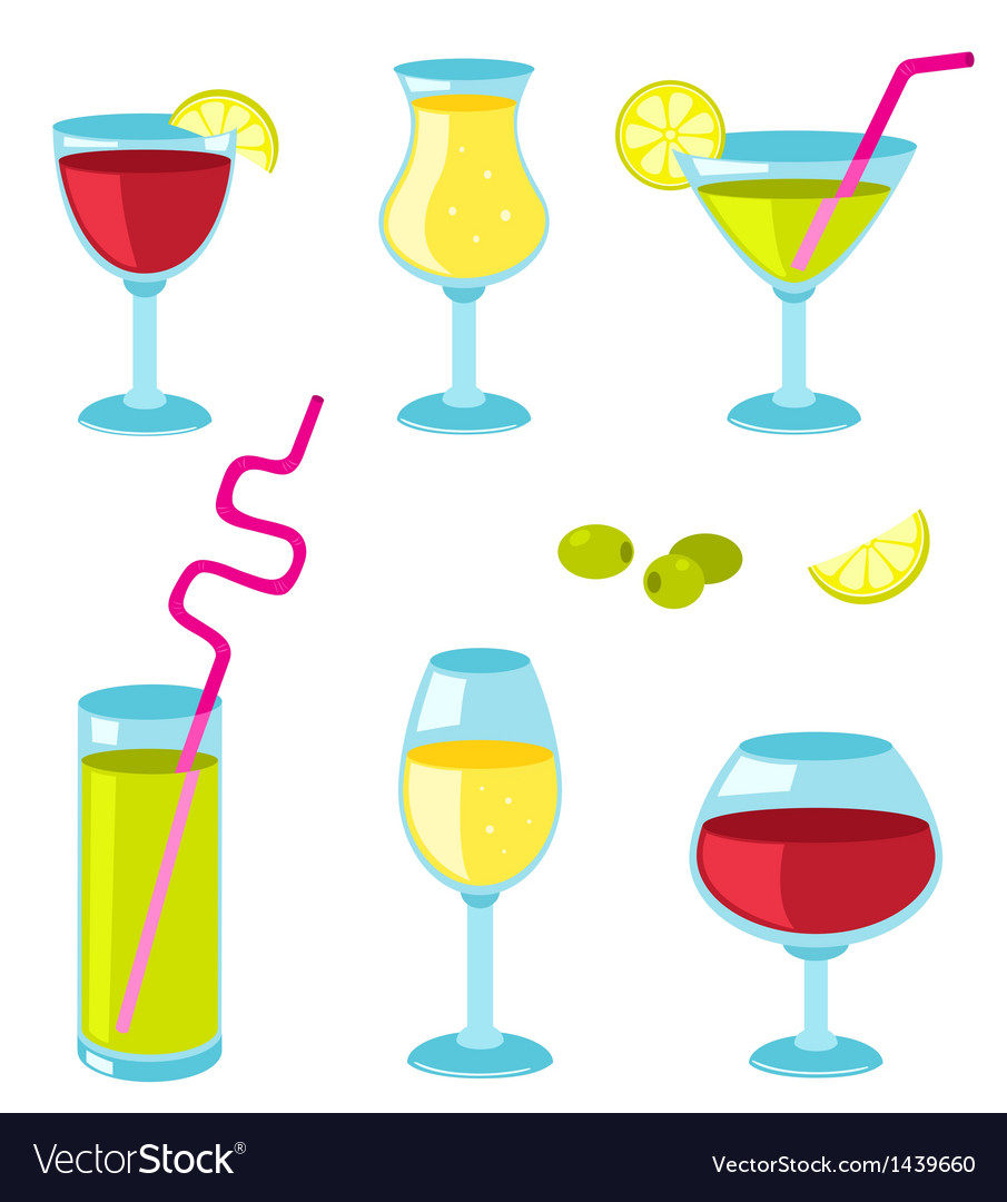 Set of glasses for wine vector | Price: 1 Credit (USD $1)