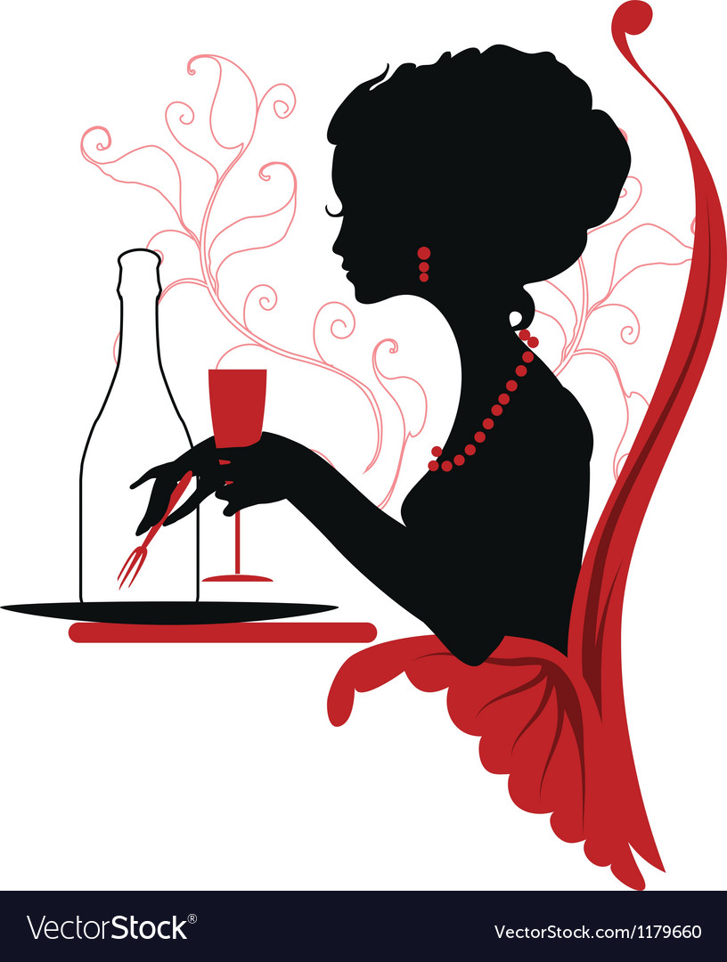 Silhouette of woman relaxing in restaurant vector | Price: 1 Credit (USD $1)