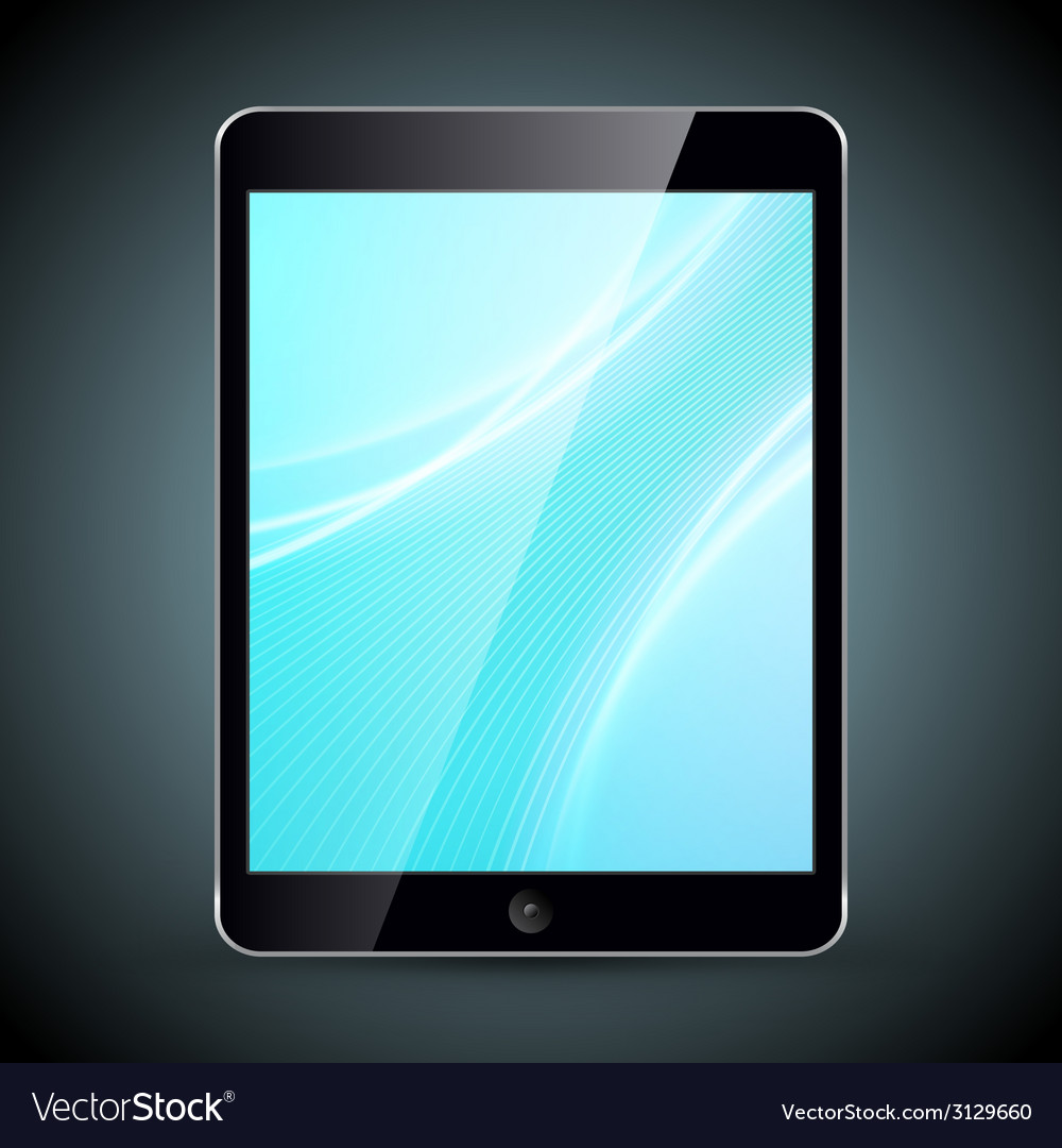 Tablet pc with wallpaper isolated on dark vector   Price: 1 Credit (USD $1)