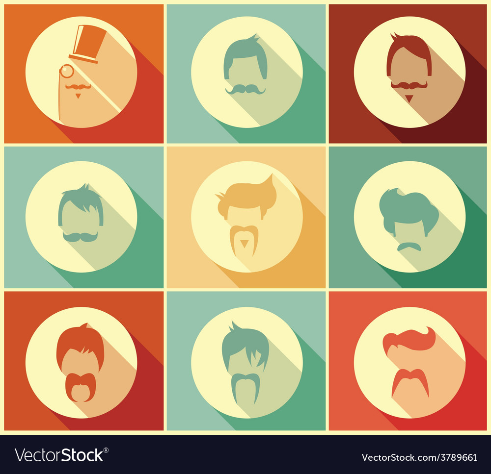 Collection of hipster retro hair styles vector | Price: 1 Credit (USD $1)