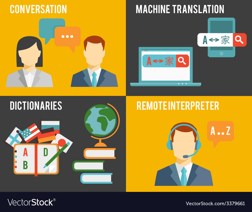 Foreign language translation concept graphics vector | Price: 1 Credit (USD $1)