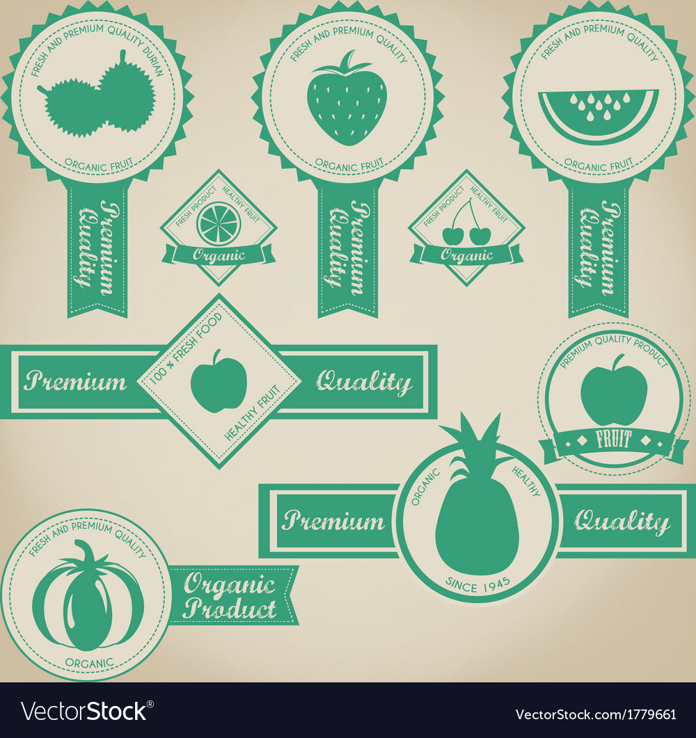 Fresh and organic fruit label design vector | Price: 1 Credit (USD $1)