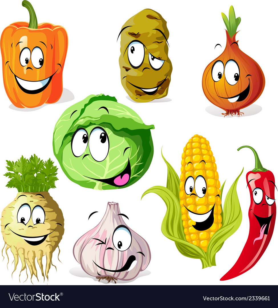 Funny vegetable and spice cartoon vector | Price: 1 Credit (USD $1)