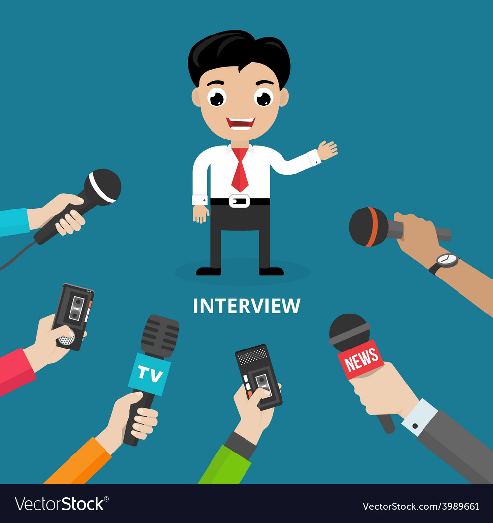 Media conducting a press interview vector | Price: 1 Credit (USD $1)