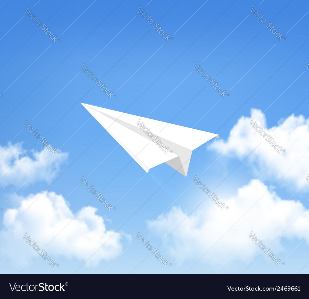 Paper airplane in the sky with clouds vector | Price: 1 Credit (USD $1)