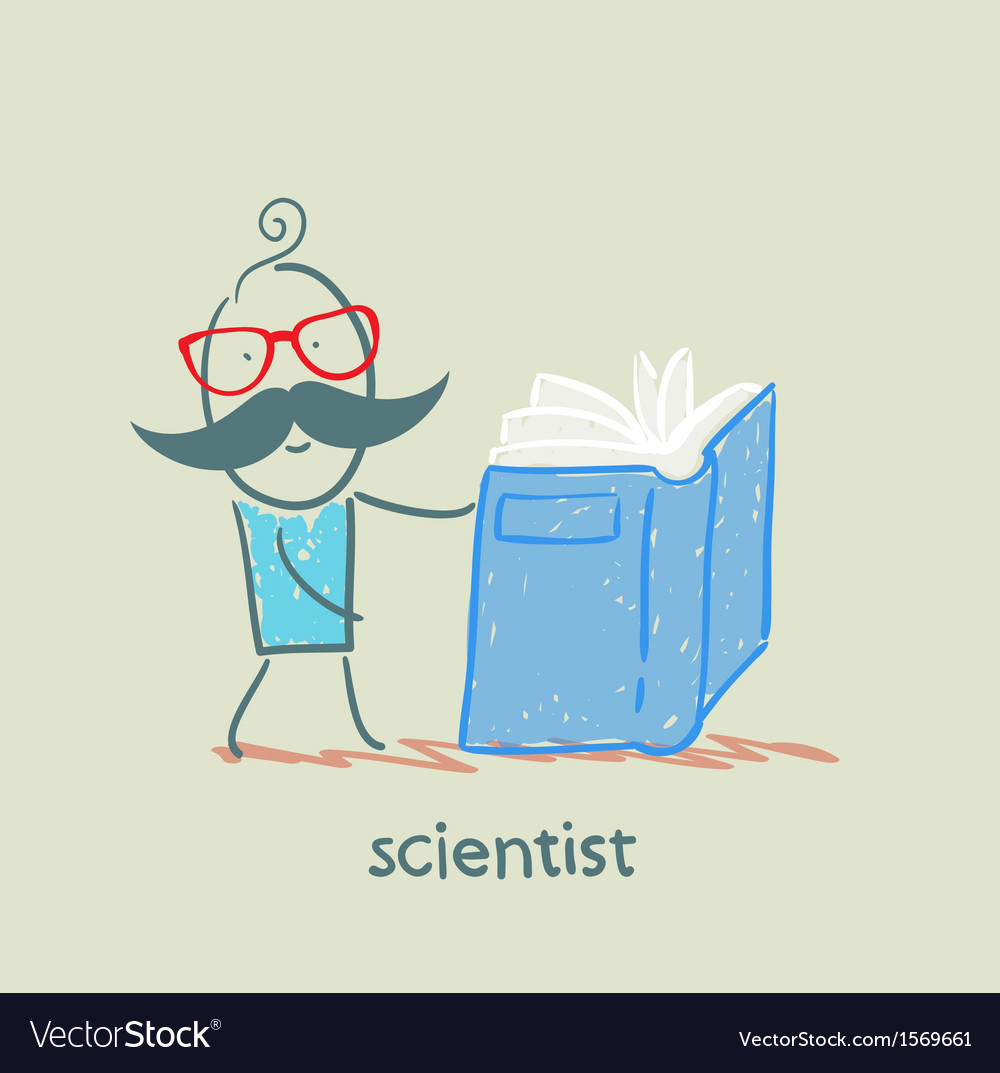 Scientist reading a book vector | Price: 1 Credit (USD $1)