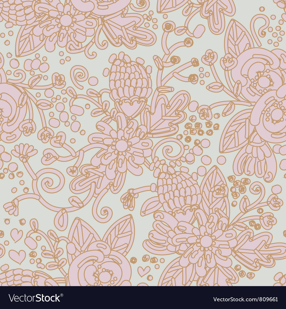 Seamless background with flowers ornament vector | Price: 1 Credit (USD $1)