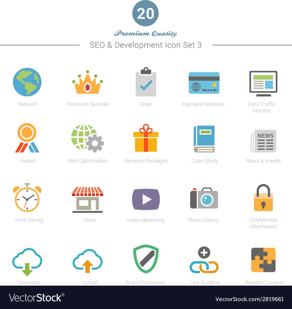 Set of full color seo and development icons set 3 vector | Price: 1 Credit (USD $1)