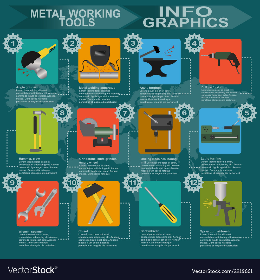 Set of metal working tools infographics vector | Price: 1 Credit (USD $1)