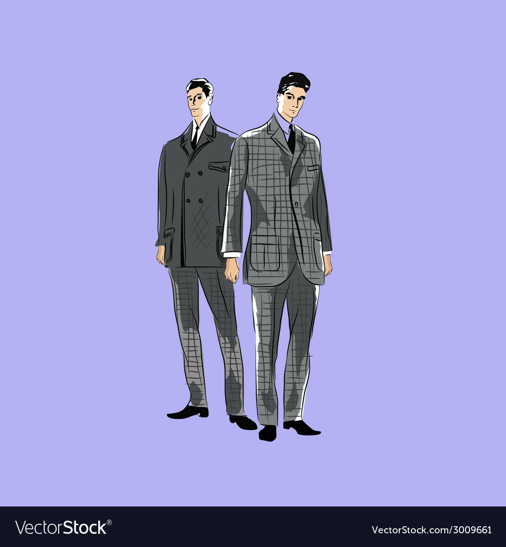 Sketch mans in fashion clothes eps vector | Price: 1 Credit (USD $1)