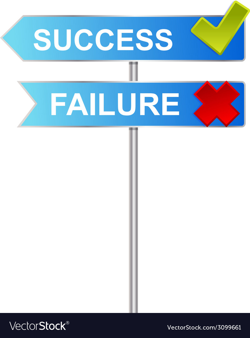 Success unsuccess road sign indicator vector | Price: 1 Credit (USD $1)