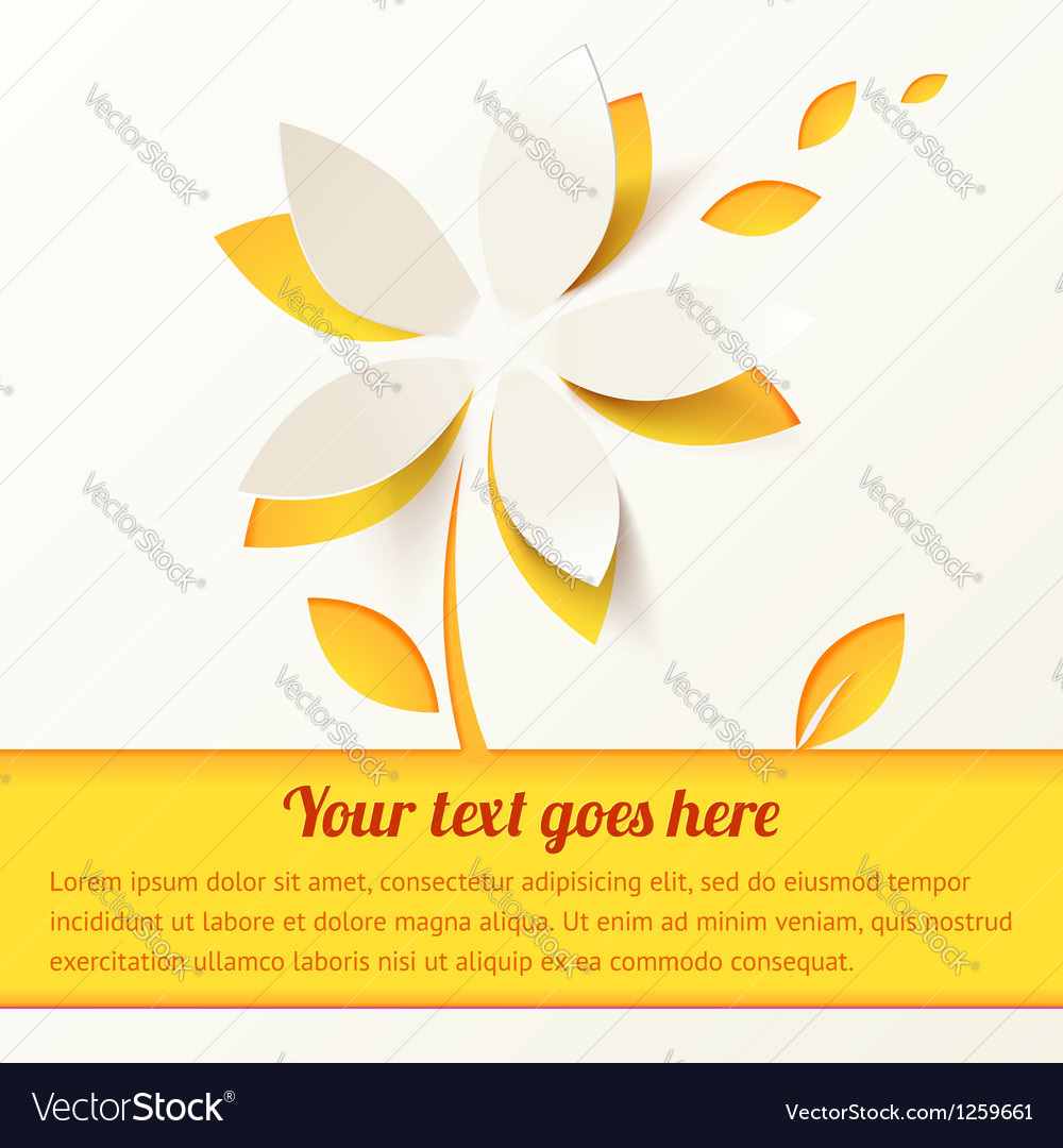 Yellow paper flower greeting card template vector | Price: 1 Credit (USD $1)