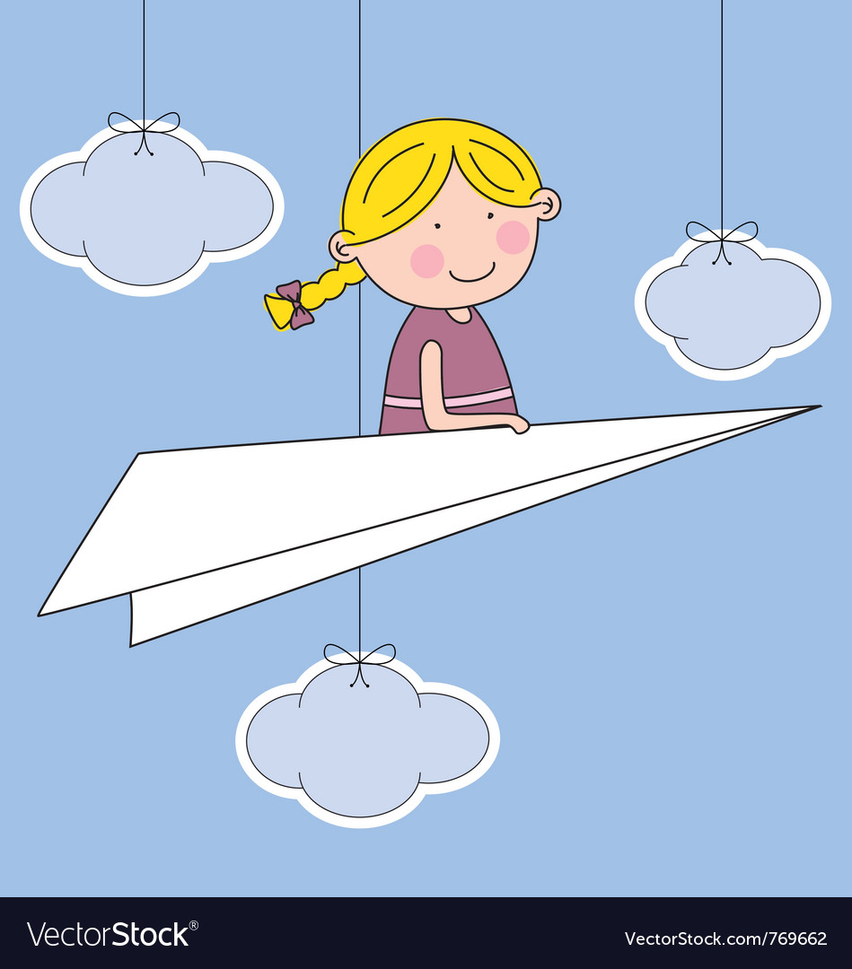 Girl flying a paper airplane vector | Price: 1 Credit (USD $1)