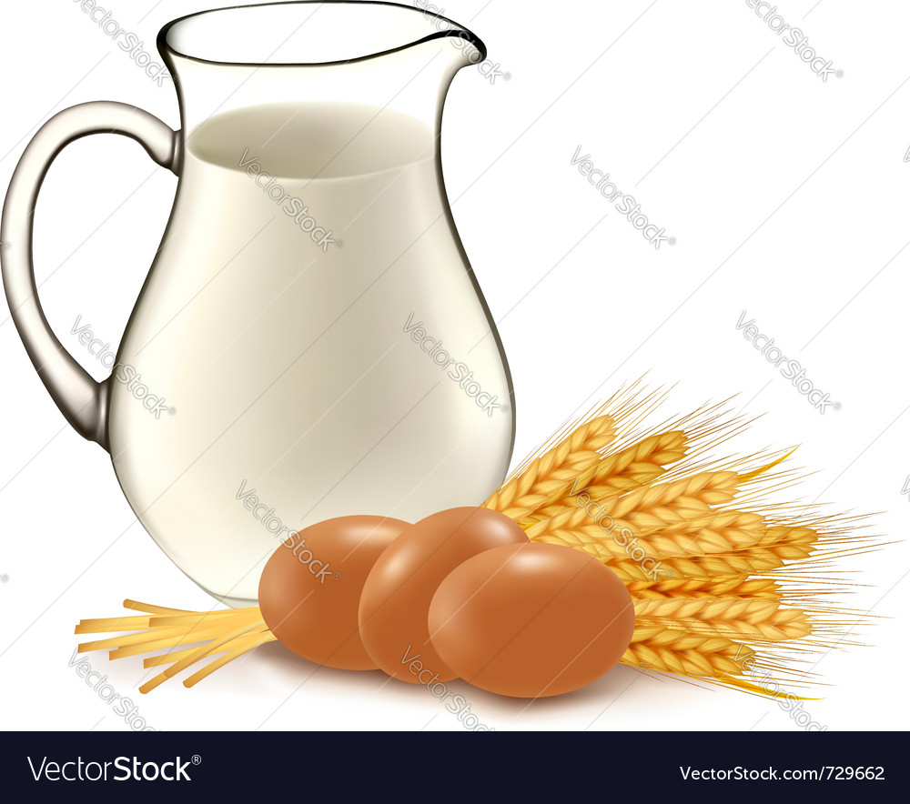 Glass jug with milk wheat seeds and eggs vector | Price: 3 Credit (USD $3)