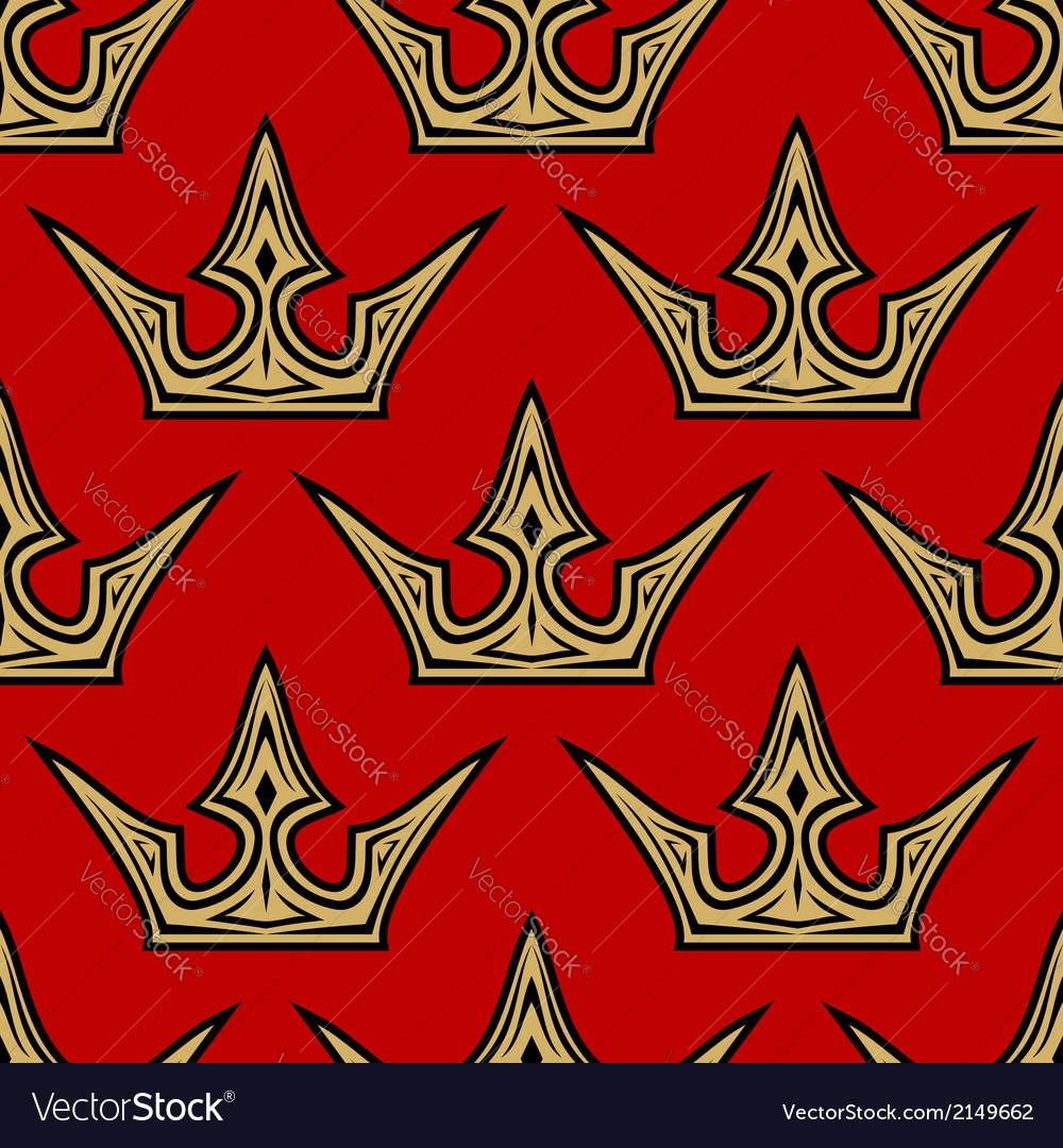 Golden crowns seamless pattern background vector | Price: 1 Credit (USD $1)